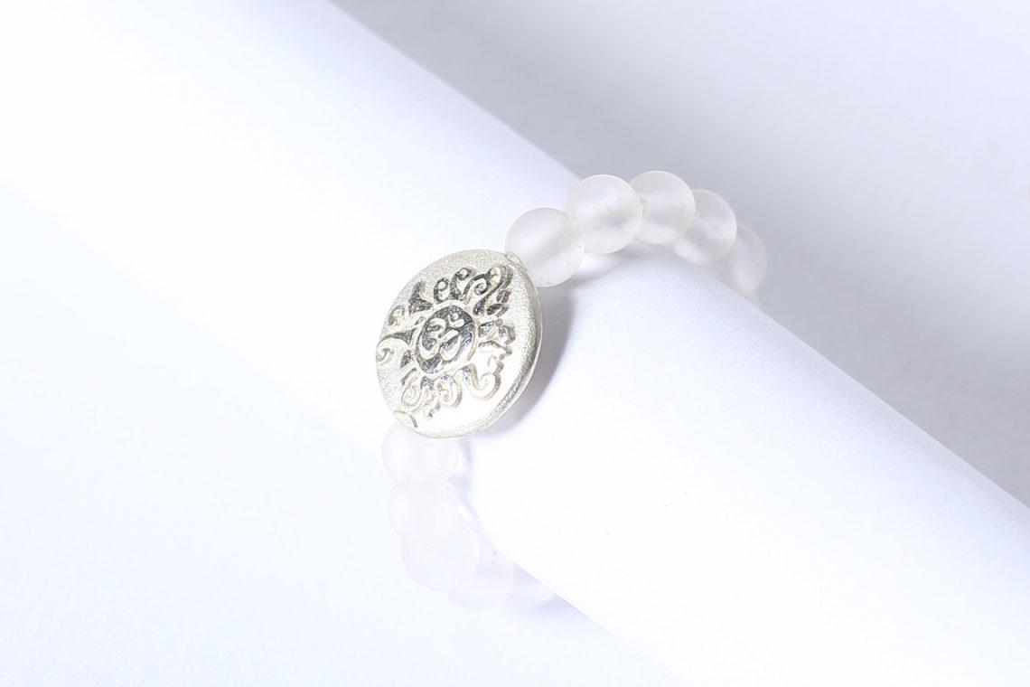 Edelstein Ring Gummiband Bergkristall mit Silbermünzer