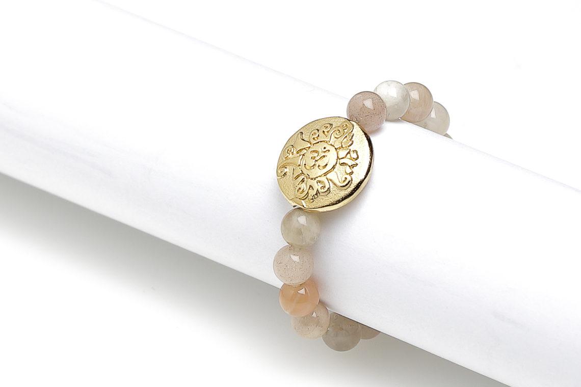 Yoga Ring Mondstein multicolor mit vergoldeter Malamünze