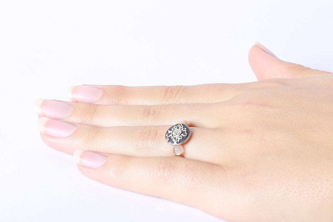 Ring Mondstein Perlen multicolor