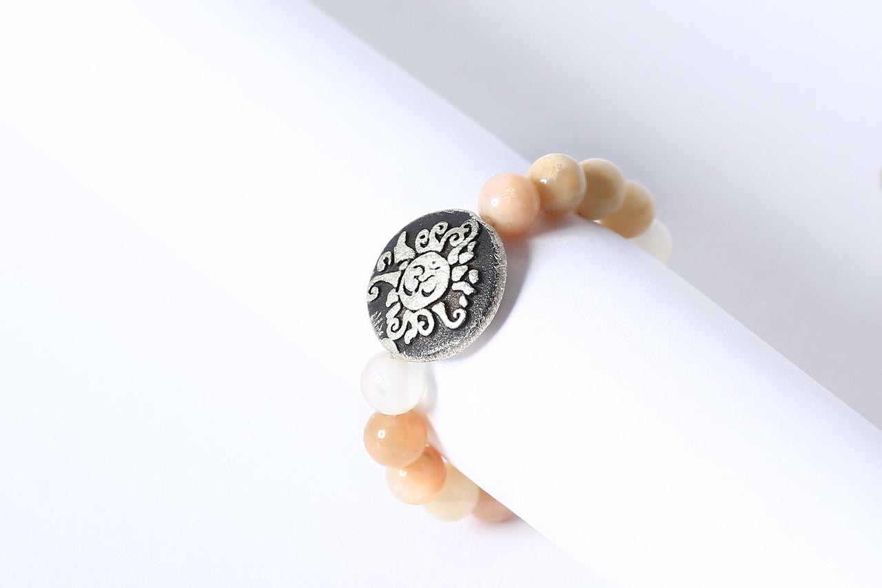 Perlenring Gummiband Mondstein multicolor