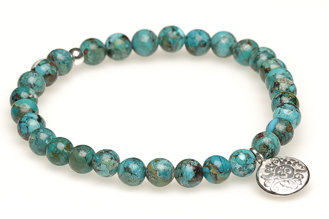 Mala Armband Türkis mit Malamünze 925er Silber