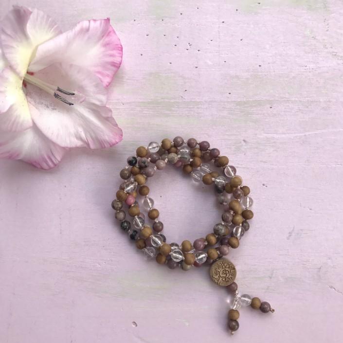 Yoga Mantra Mala Bergkristall Rhodonit