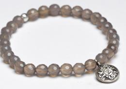 Yogaschmuck Achat facettiert Silbermünze geschwärzt 6mm