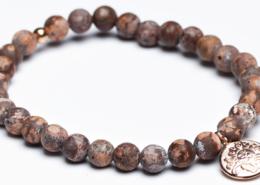 Yogaschmuck Leopard Jaspis Silbermünze rosevergoldet 6mm