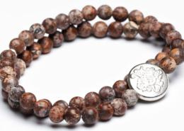 Yogaschmuck Leopard Jaspis doppelt Silbermünze 6mm