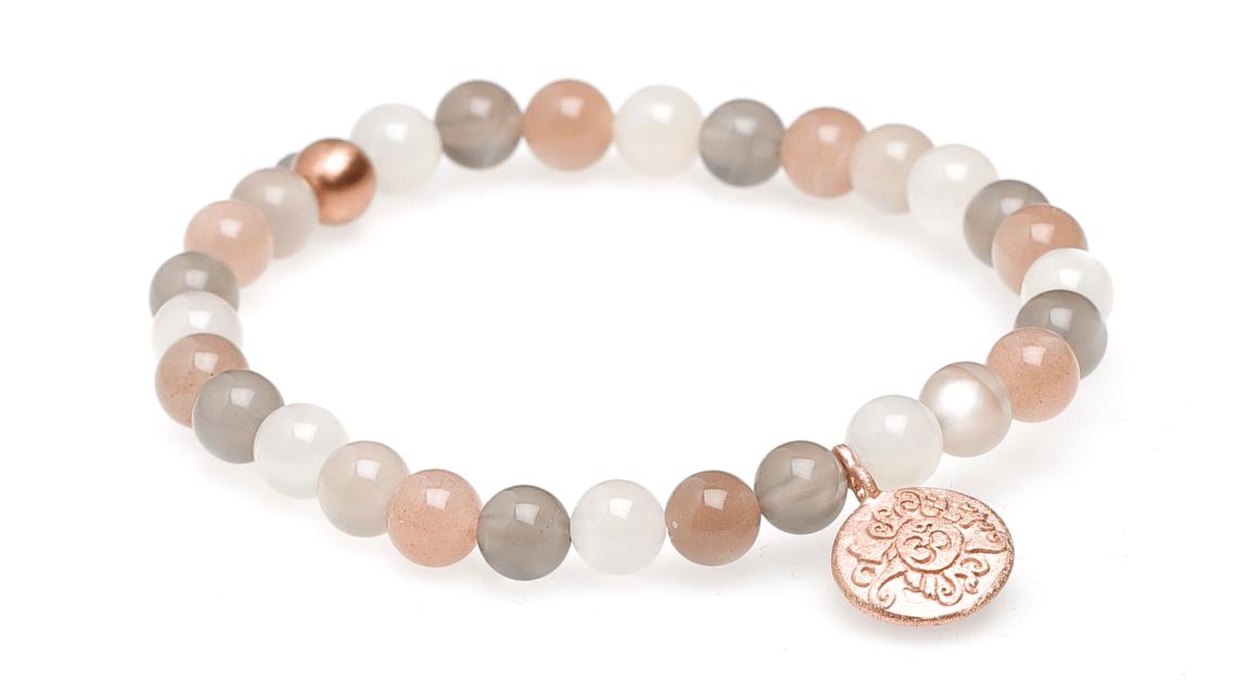 Yogaschmuck Mondstein multicolor Silbermünze rosévergoldet 6mm