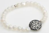 Yogaschmuck Perlmutt Silbermünze Antiklook 6mm