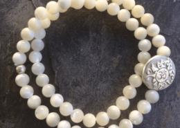 Yogaschmuck Perlmutt doppelt Silbermünze 6mm