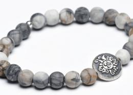 Yogaschmuck Picasso Jaspis matt Silbermünze geschwärzt 8mm
