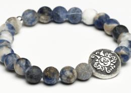 Yogaschmuck Sodalith Silbermünze geschwärzt 6mm