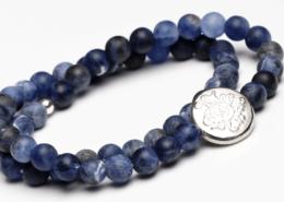 Yogaschmuck Sodalith doppelt Silbermünze 6mm