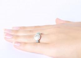 Yoga Ring Amazonit mit Malamünze aus Silber