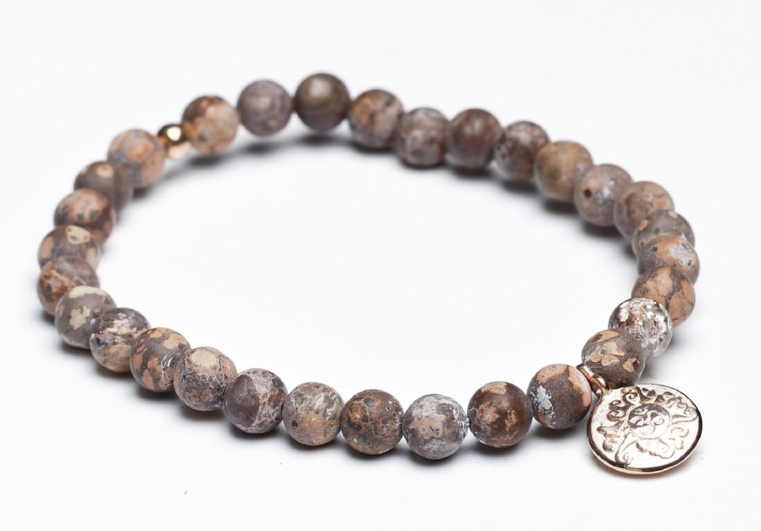 Handala Leoparden Jaspis mit rosévergoldeter Münze