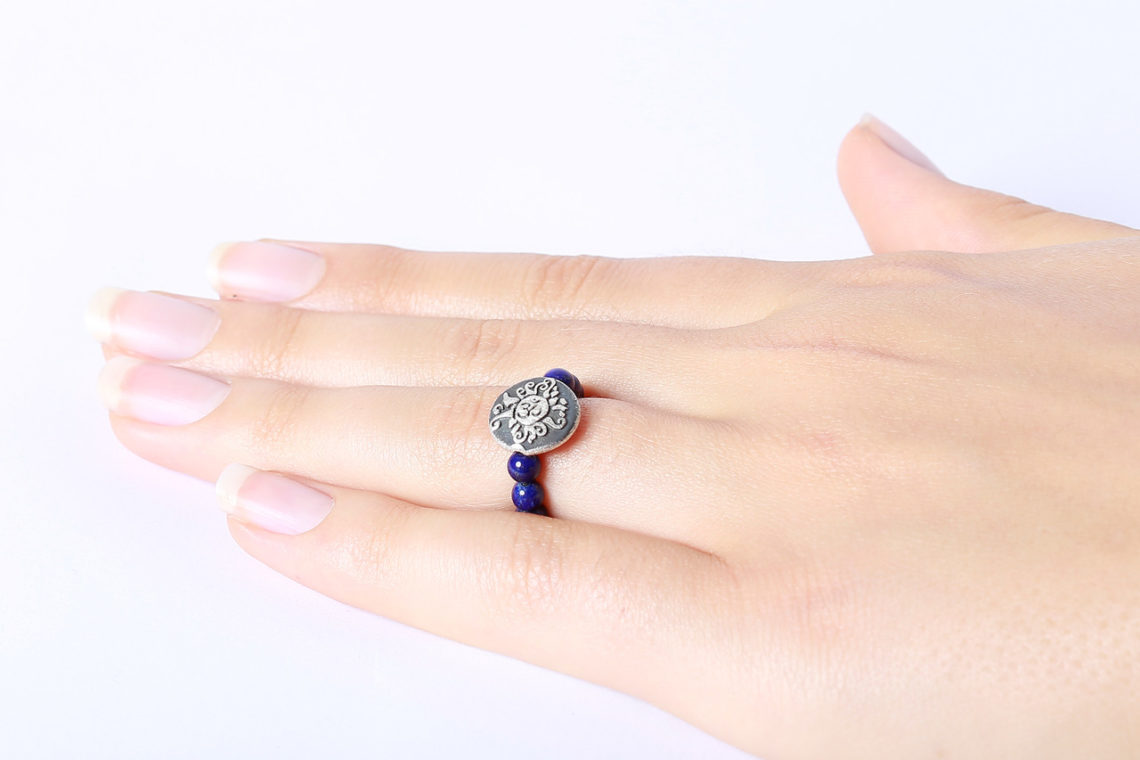 Lapislazuli Perlen Ring