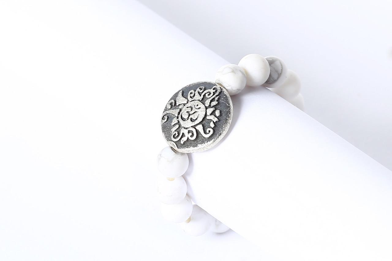 Ring aus Edelstein Perlen Magnesit