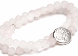 Yogaschmuck Rosenquarz doppelt matt Silbermünze 6mm