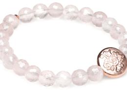 Yogaschmuck Rosenquarz facettiert rosévergoldete Silbermünze 8mm