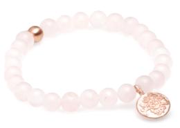 Yogaschmuck Rosenquarz matt rosévergoldete Silbermünze 6mm