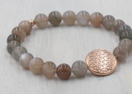 Handala Armband Yogaschmuck Mondstein grau rosegold 8mm Lebensblume